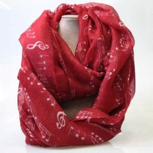 pañuelo notas musicales rojo qarbonia